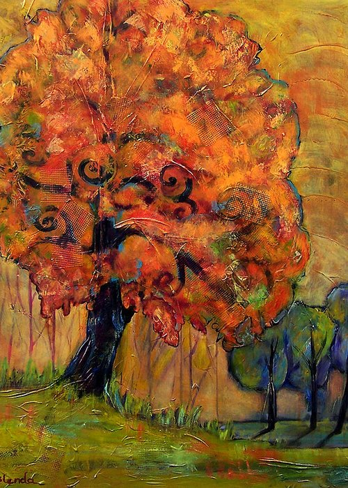 Autumn Greeting Card featuring the painting Tree Of Wisdom by Blenda Studio