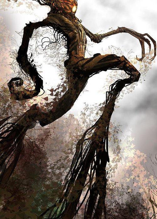 Concept Art Greeting Card featuring the digital art Treeman by Alex Ruiz