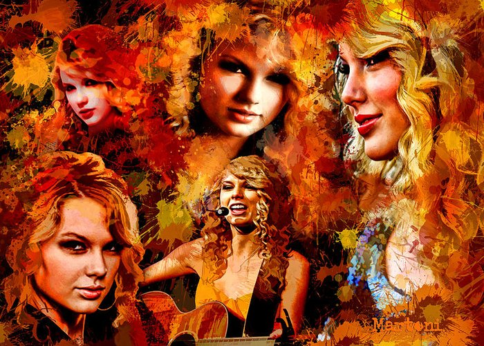 Martoni Greeting Card featuring the painting Tribute To Taylor Swift by Alex Martoni