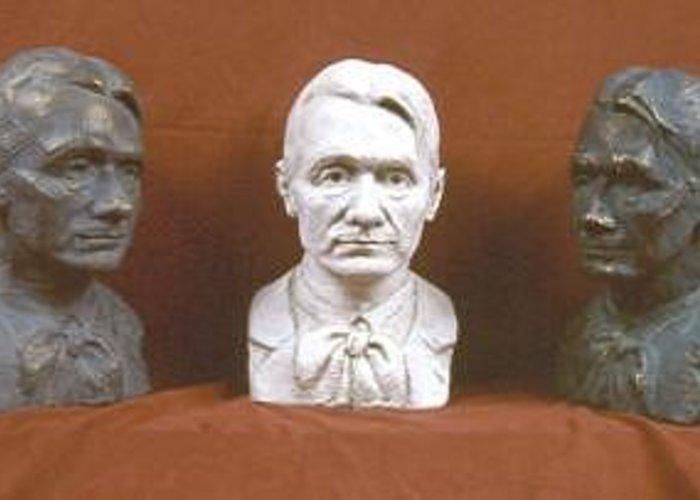 Greeting Card featuring the sculpture Trio Portrait Of Rudolf Steiner by David Dozier