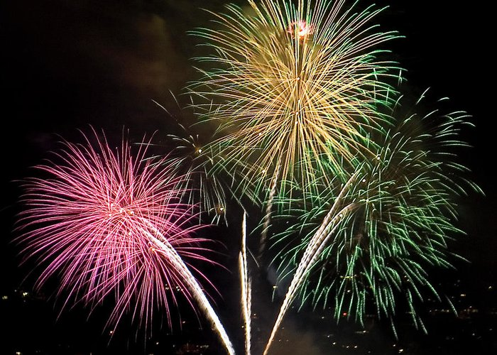 Fireworks Greeting Card featuring the photograph Triple Color by David Patterson