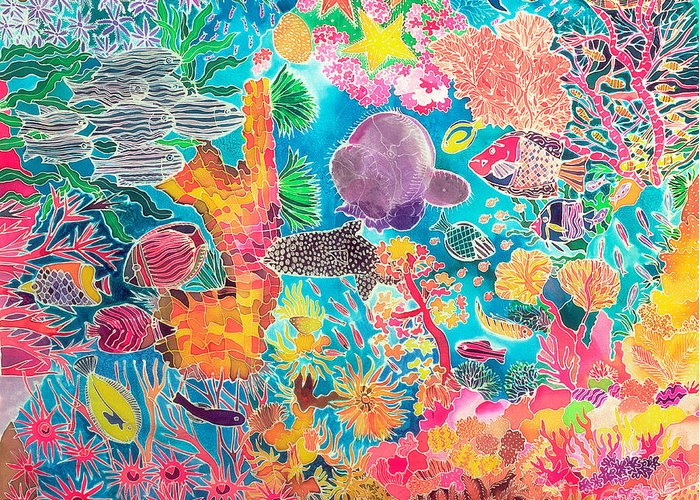 Marine; Sub Aquatic; Underwater; Fish; Coral; Anemone; Star-fish; Sea; Reef Greeting Card featuring the painting Tropical Coral by Hilary Simon