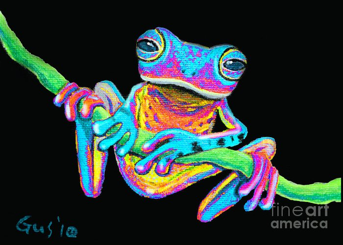 A Colorful Rainbow Frog On A Vine Greeting Card featuring the painting Tropical Rainbow Frog On A Vine by Nick Gustafson