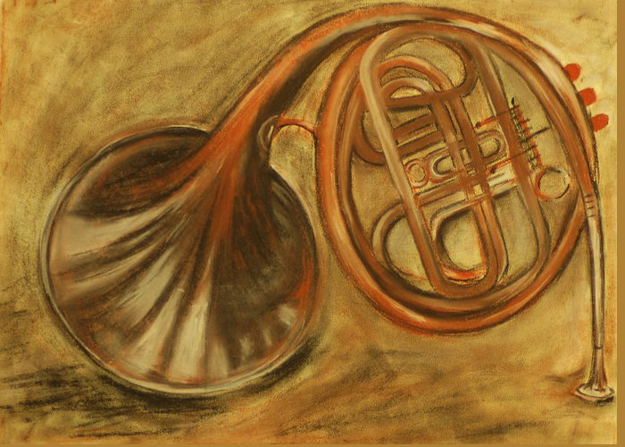 Trumpet Greeting Card featuring the drawing Trumpet by Rashmi Rao