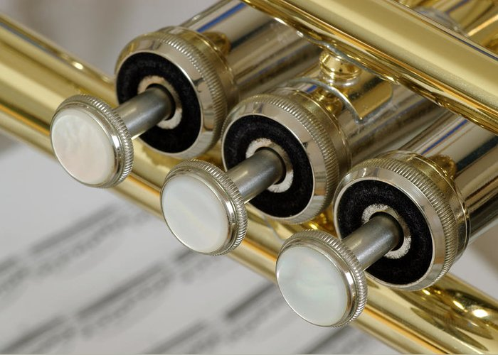 Trumpet Greeting Card featuring the photograph Trumpet Valves by Frank Tschakert