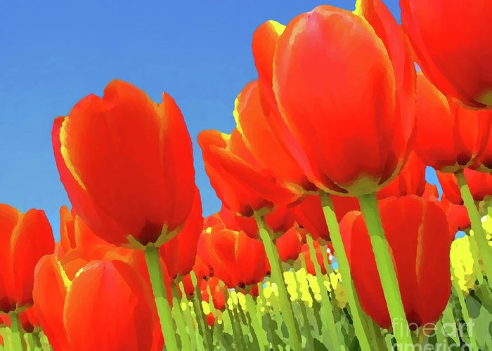 Background Greeting Card featuring the painting Tulip Field by Giancarlo Liguori