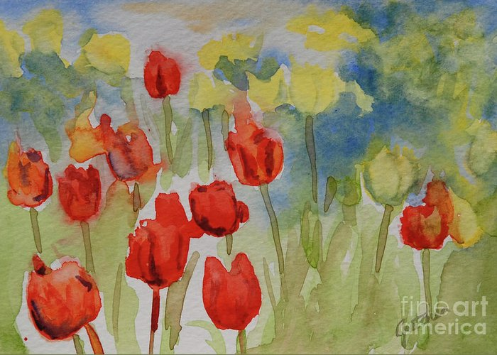 Tulips Greeting Card featuring the painting Tulip Field by Gretchen Bjornson