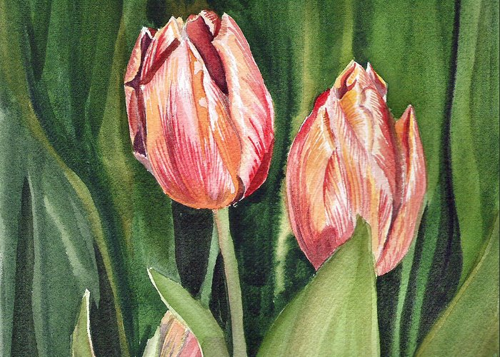 Tulip Greeting Card featuring the painting Tulips by Irina Sztukowski