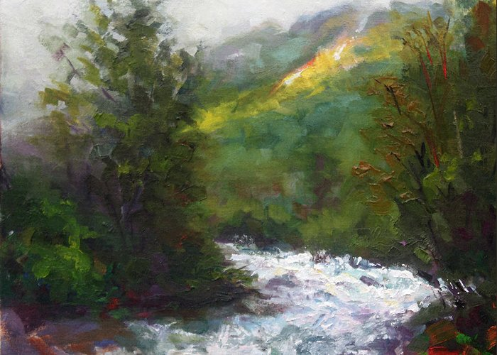 Little Greeting Card featuring the painting Turbulence by Talya Johnson