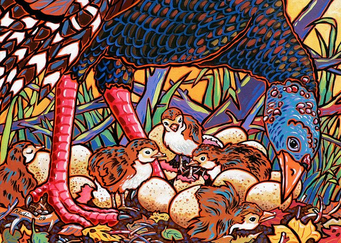 Turkey Greeting Card featuring the painting Turkeys by Nadi Spencer