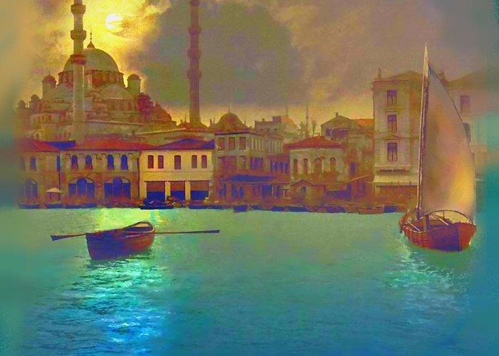 Turkey Greeting Card featuring the painting Turkish Moonlight by Saiyyidah Seema Z