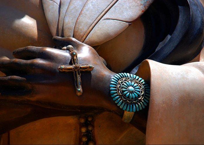 Kateri Tekakwihta Greeting Card featuring the photograph Turquoise Bracelet by Susanne Van Hulst