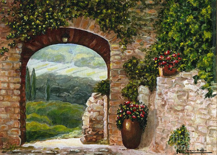 Angelica Dichiara Greeting Card featuring the painting Tuscan Arch by Italian Art