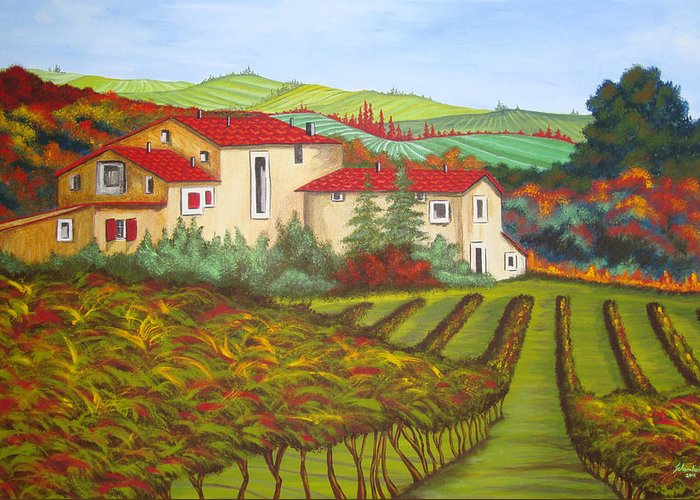 Tuscany Greeting Card featuring the painting Tuscany by Amanda Schambon