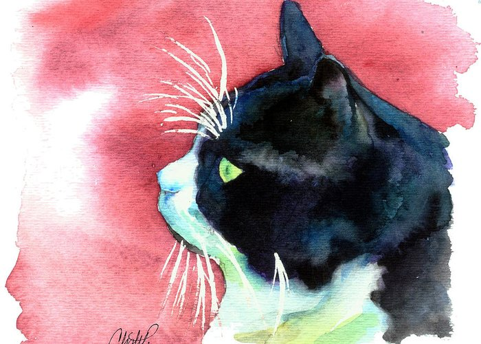 Cat Greeting Card featuring the painting Tuxedo Cat Profile by Christy Freeman