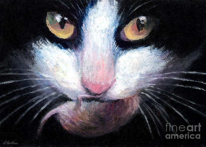 Tuxedo Cat Greeting Card featuring the painting Tuxedo Cat With Mouse by Svetlana Novikova