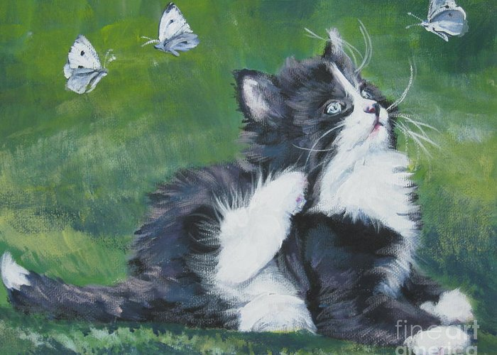 Tuxedo Greeting Card featuring the painting Tuxedo Kitten by Lee Ann Shepard