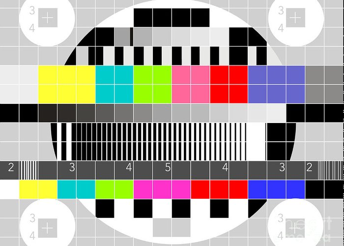 Television Greeting Card featuring the digital art Tv Multicolor Signal Test Pattern by Aloysius Patrimonio