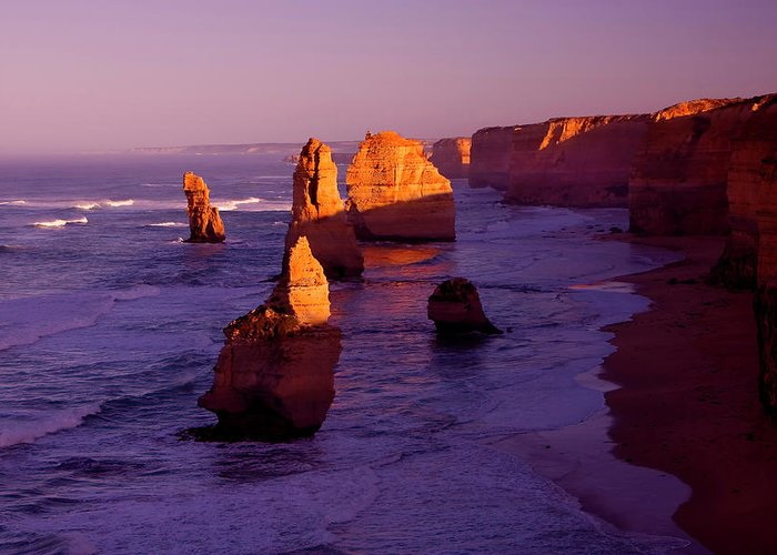 Twelve Apostles Greeting Card featuring the photograph Twelve Apostle Dawn by Mike Dawson