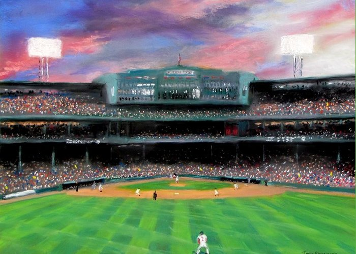 Baseball Greeting Card featuring the painting Twilight At Fenway Park by Jack Skinner