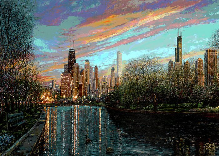 City Greeting Card featuring the painting Twilight Serenity II by Doug Kreuger