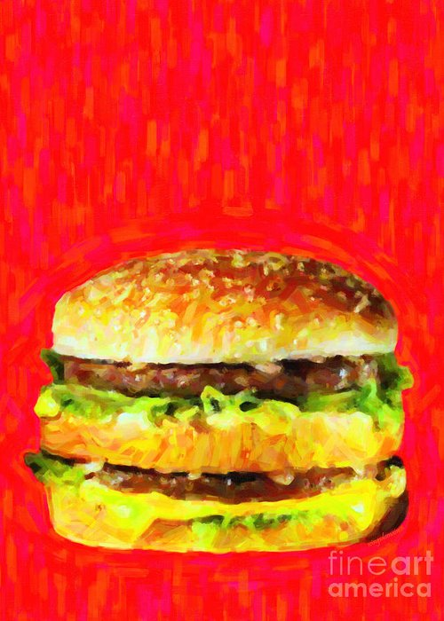 Mcdonald Greeting Card featuring the photograph Two All Beef Patties by Wingsdomain Art and Photography