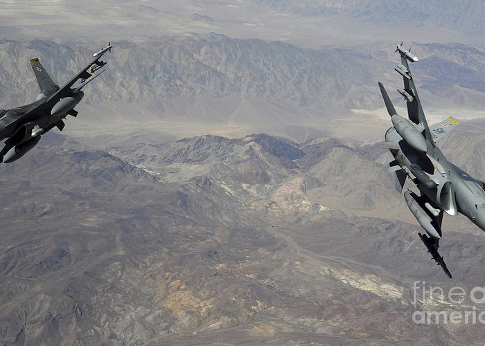 F-16 Greeting Card featuring the photograph Two F-16 Fighting Falcons Break by Stocktrek Images