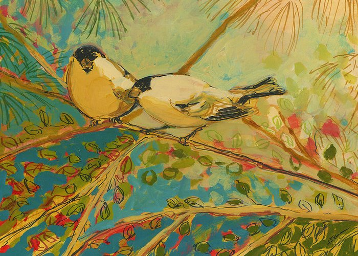 Bird Greeting Card featuring the painting Two Goldfinch Found by Jennifer Lommers