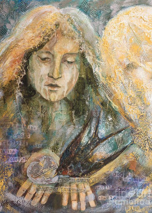 Angel Greeting Card featuring the painting Two Most Precious Things by Kate Bedell