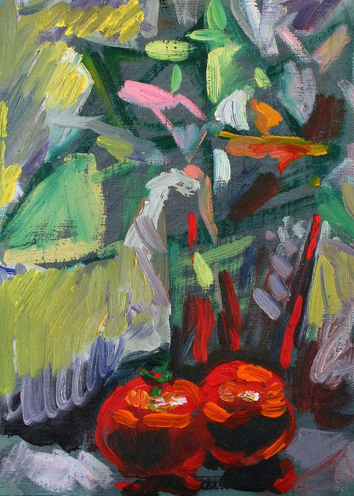 Still Life Greeting Card featuring the painting Two Red Tomatoes by Piotr Antonow