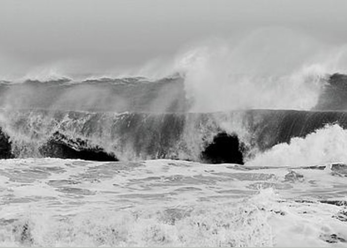 Two Waves Greeting Card featuring the photograph Two Waves Are Better Than One - Jersey Shore by Angie Tirado