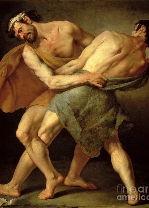 Nude Greeting Card featuring the painting Two Wrestlers by Cesare Francazano