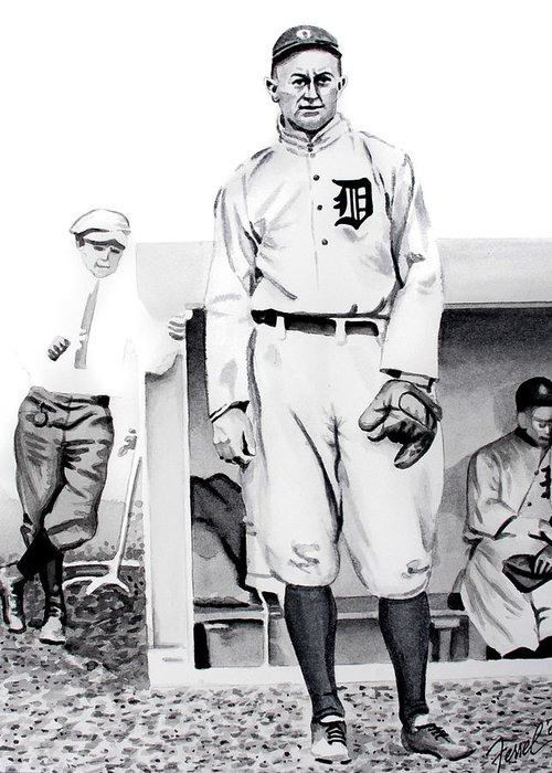 Baseball Greeting Card featuring the painting Ty Cobb by Ferrel Cordle