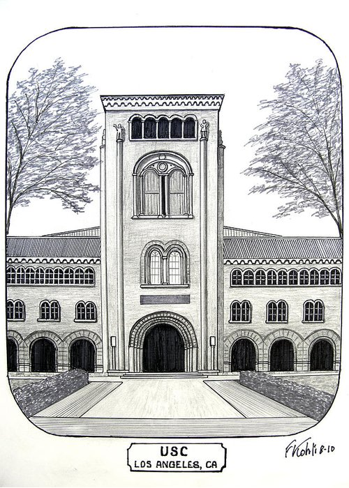 Pen And Ink College Buildings Drawings Greeting Card featuring the drawing U S C by Frederic Kohli