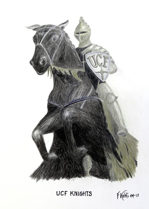Ucf Greeting Card featuring the drawing Ucf Knights by Frederic Kohli