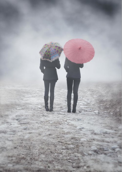 Girl Greeting Card featuring the photograph Umbrellas In The Mist by Joana Kruse