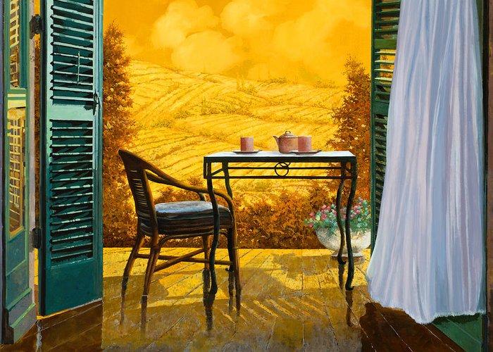 Terrace Greeting Card featuring the painting Un Caldo Pomeriggio D by Guido Borelli