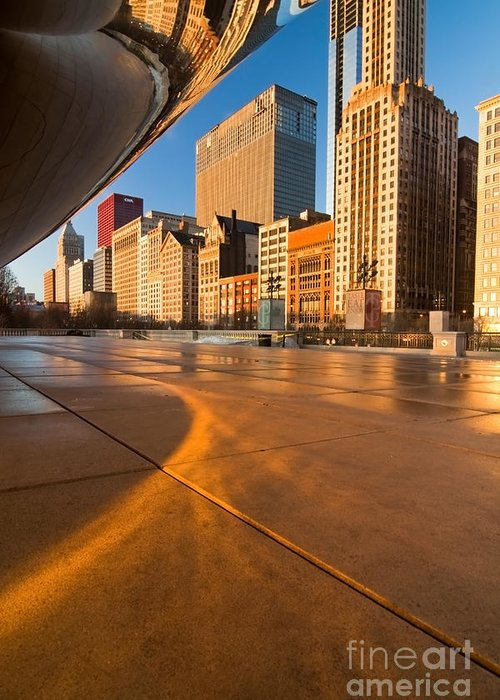 Chicago Greeting Card featuring the photograph Under The Bean And Chicago Skyline At Sunrise by Sven Brogren