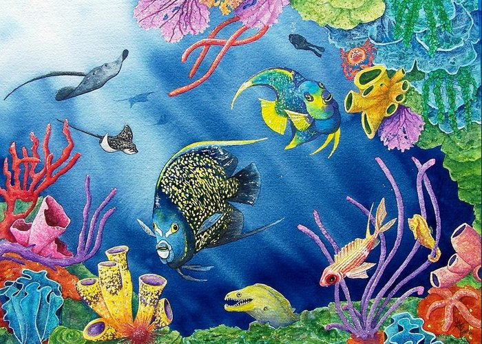 Undersea Greeting Card featuring the painting Undersea Garden by Gale Cochran-Smith
