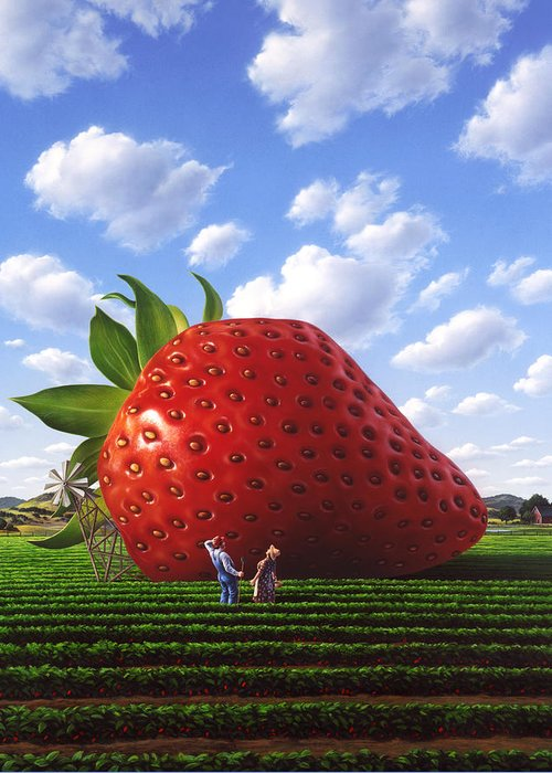 Strawberry Greeting Card featuring the painting Unexpected Growth by Jerry LoFaro