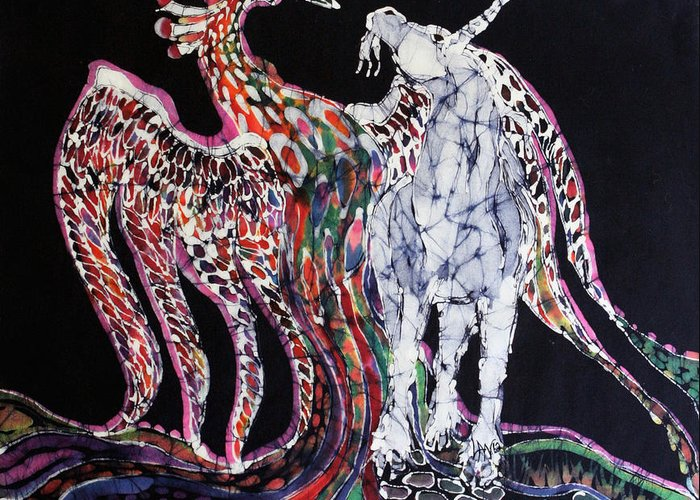 Unicorn Greeting Card featuring the tapestry - textile Unicorn And Phoenix Merge Paths by Carol Law Conklin