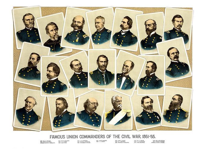Civil War Greeting Card featuring the painting Union Commanders Of The Civil War by War Is Hell Store