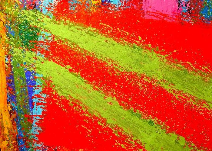 Abstract Irish Contemporary Modern Vibrant Music Jazz Artist Gallery Studio Red Green Colourful Acrylic Canvas Stylised Original Print Card Professional Art Auction Bid Greeting Card featuring the painting Unison by John Nolan