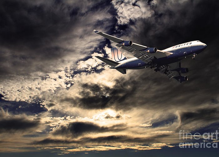 Transportation Greeting Card featuring the photograph United Airlines . Flying The Friendly Skies by Wingsdomain Art and Photography