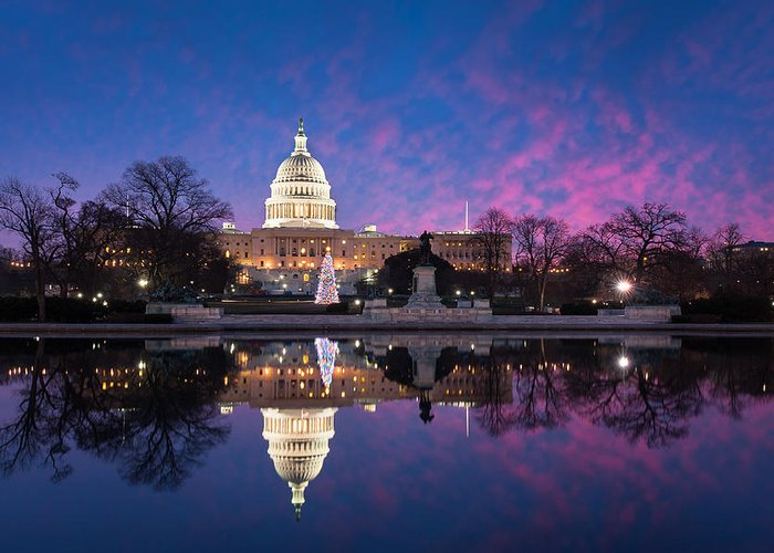 Architecture Greeting Card featuring the photograph United States Capitol Building Christmas Tree Reflections by Mark VanDyke