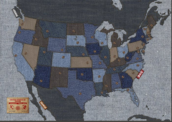 Usa Greeting Card featuring the digital art United States Of Denim by Michael Tompsett