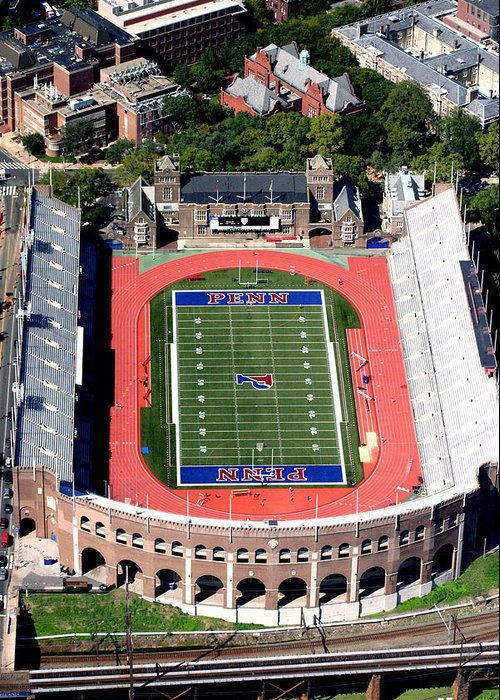 Franklin Field Greeting Card featuring the photograph University Of Pennsylvania Franklin Field S 33rd Street Philadelphia by Duncan Pearson