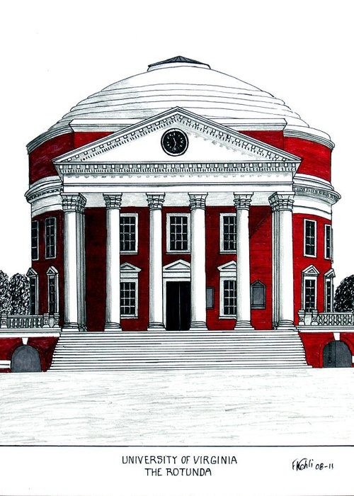 University Of Virginia Rotunda Drawing Greeting Card featuring the drawing University Of Virginia by Frederic Kohli