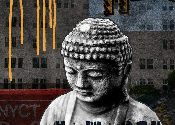 Buddha Greeting Card featuring the mixed media Urban Buddha by Linda Woods