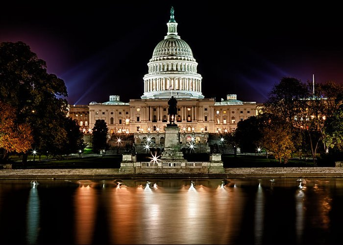Washington Greeting Card featuring the photograph Us Capitol Building And Reflecting Pool At Fall Night 3 by Val Black Russian Tourchin